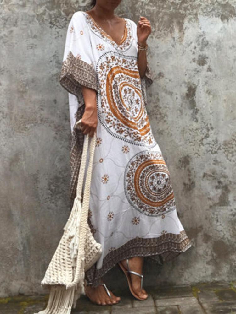 Women Ethnic Print Bohemian Loose Beach Long Dress