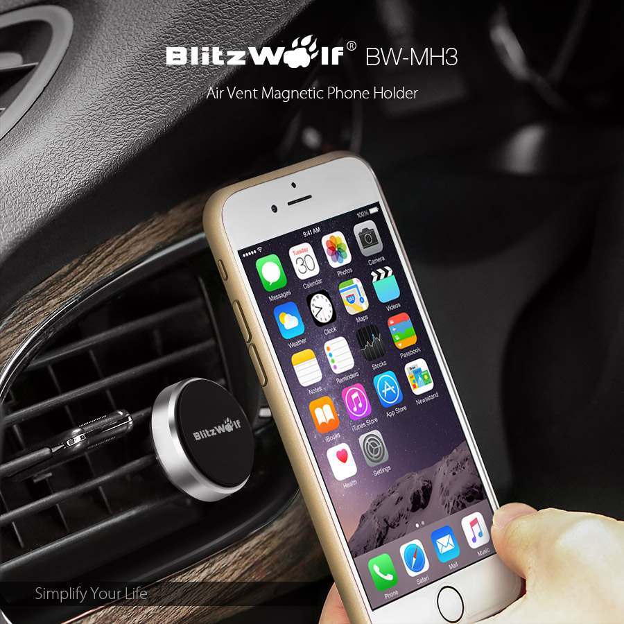 BlitzWolf® BW-MH3 Stainless Steel Reinforced Magnetic Car Air Vent Universal Phone Holder