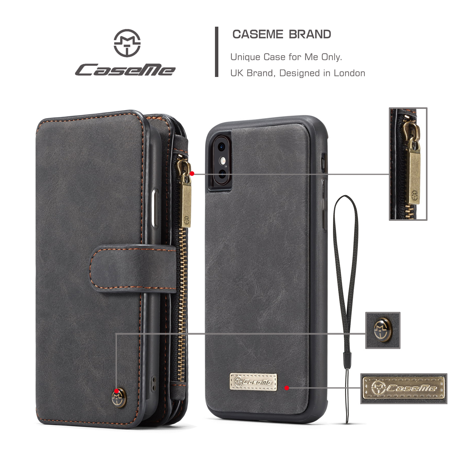 Caseme Magnetic Detachable Zipper Wallet Card Slot Pocket Protective Case For iPhone XS/X