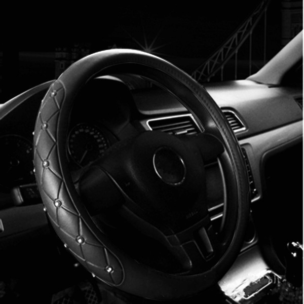 38cm PU Leather Car Steel Ring Wheel Cover Black Color with Crystal Decoration Universal