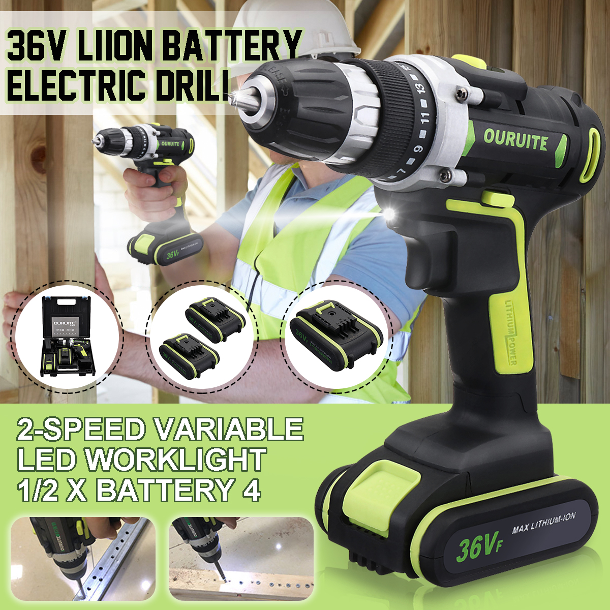 36V Electric Cordless Drill LED Lighting Double Speed Li-Ion Battery Power Drills Home Repair Tool