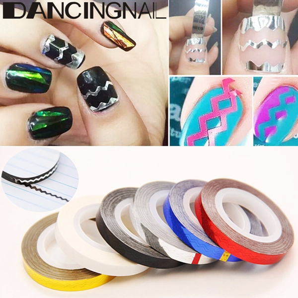 DIY Waves Line Nail Art Strip Tap Line Decoration Sticker Roll Gold Silver White Red Black Blue