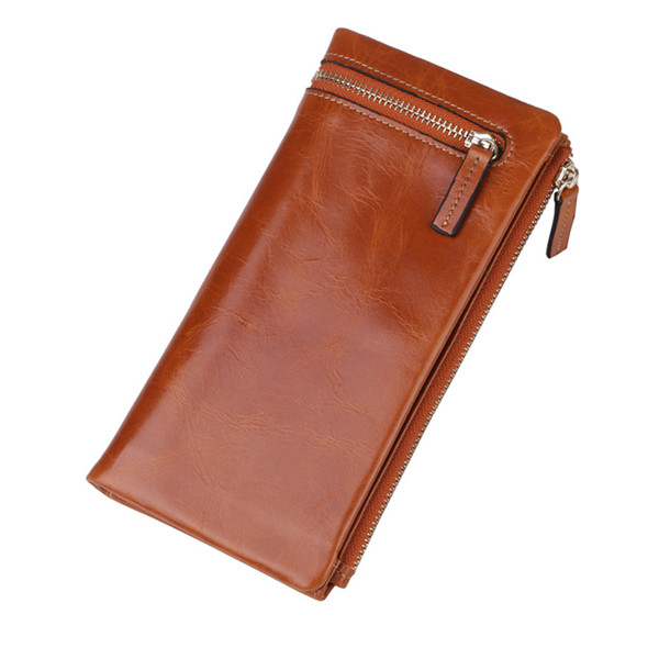 Genuine Oil Leather Long Wallet Elegant Purse Card Holder Coin Bags 5.5'' Phone Bags For Iphone 7P