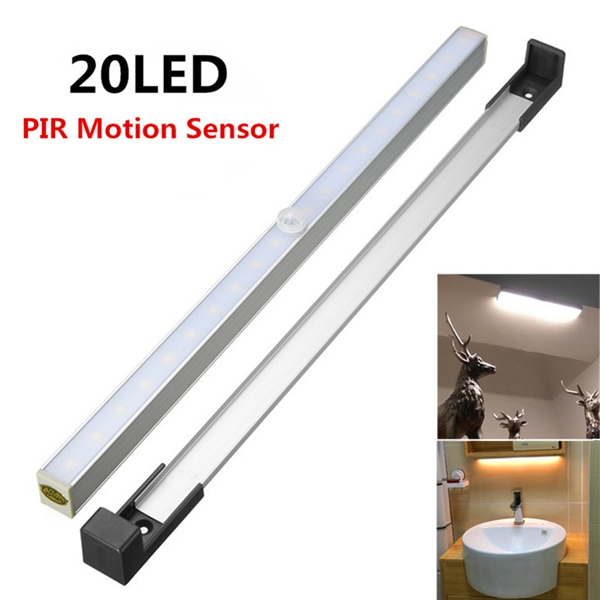 Wireless 20 LED PIR Motion Sensor Under Cabinet Closet Light Battery Powered Night Lamp