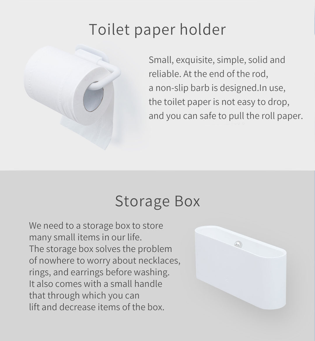 Xiaomi Happy Life 5Pcs Bathroom Soap Storage Box Toothbrush And Toilet Paper Cellular Phone Holder Set Wall Mount Stand Family Tools Accessories Bathroom Products