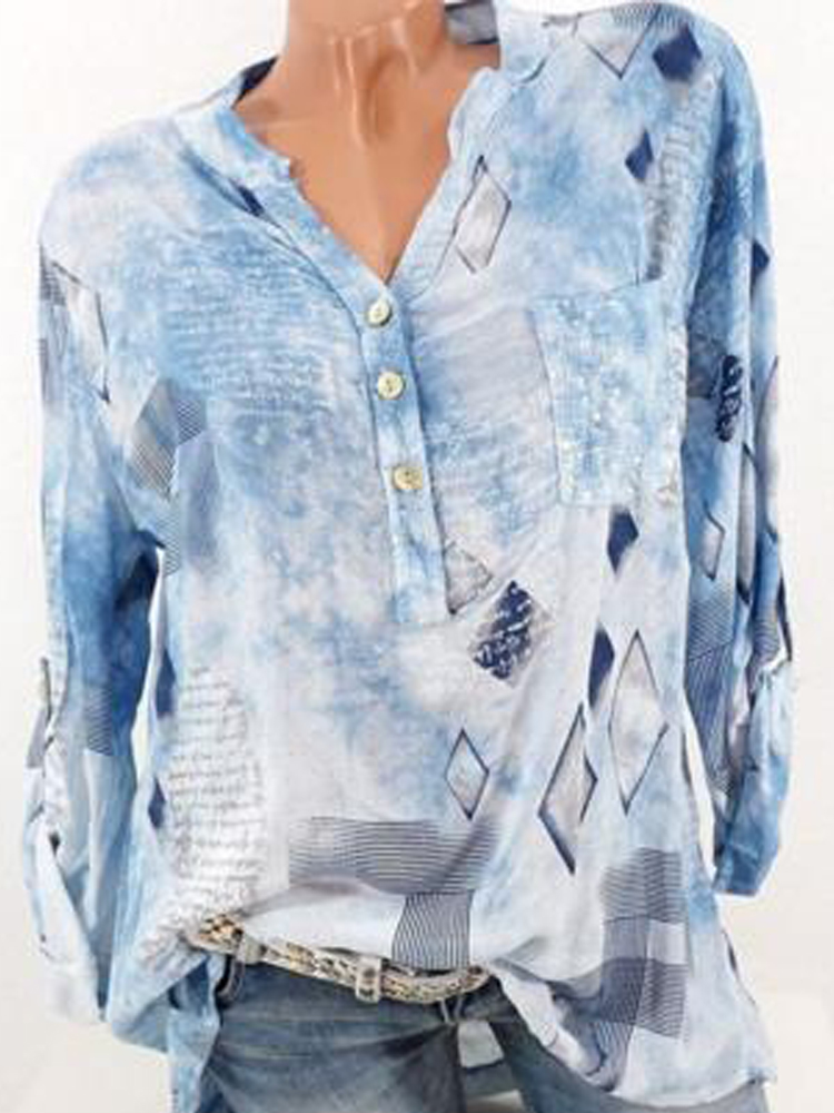 Floral Print Button Casual Blouses