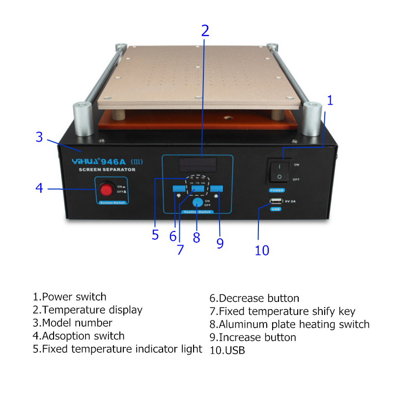 YIHUA 946A 110V/220V LCD Screen Separator Glass Repair Machine for iPhone for Samsung IPad