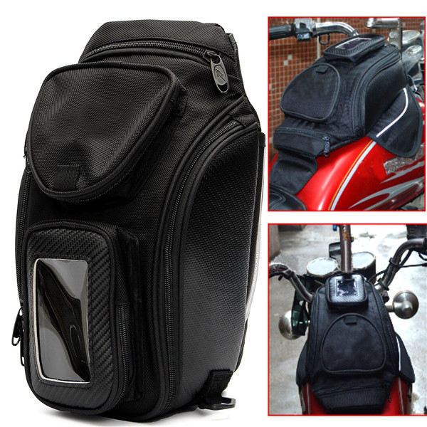 Motorcycle Oil Fuel Tank Bag Waterproof Magnetic Multi Layer Black Universal 35x18cm