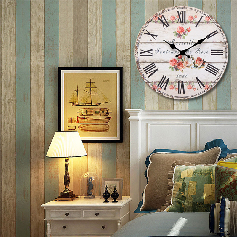 Rose Vintage Round Wood Wall Clock Office Home Living Room Decor
