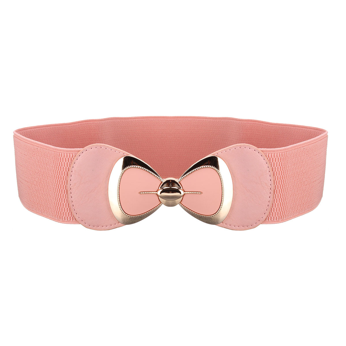 Women Ladies Bowknot Buckle Leather Waistband Wide Elastic Stretchable Waist Belt