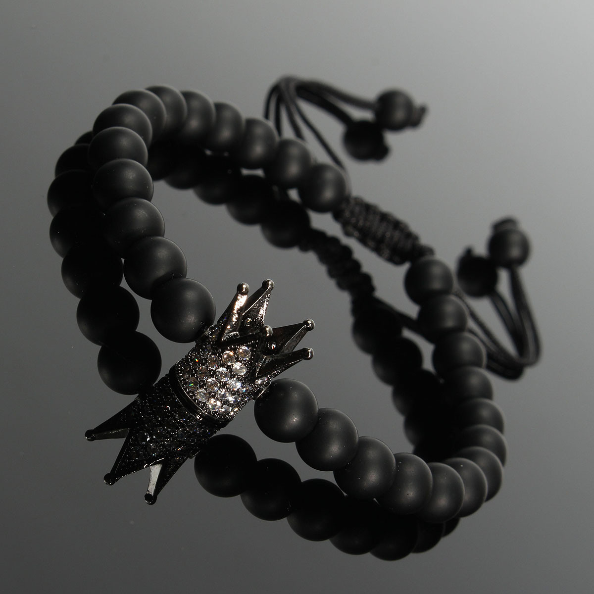 Unisex Black Matte Onyx Crown Crystal Beads Bracelet Jewelry