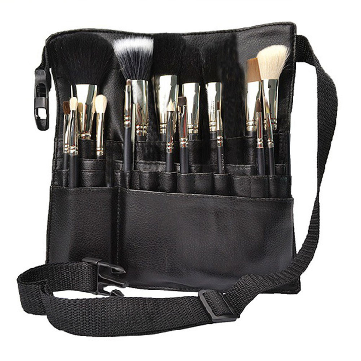 22 Pockets Professional Artist Makeup Brush Pouch Bag Strap Belt Holder Cosmetic Case