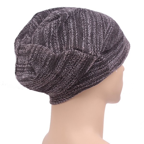 Mens Women Cotton Slouch Beanie Hat Casual Solid Knitted Striped Elastic Cap