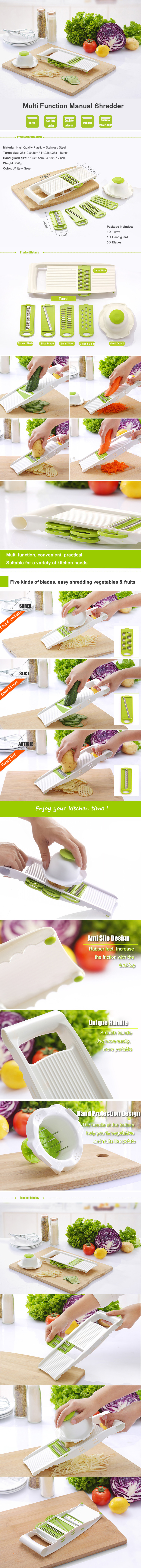 5Pcs/Set Fruit Vegetable Shredder Slicer Shredding Device Multifunction Manual Potato Cutter Vegetable Cutter