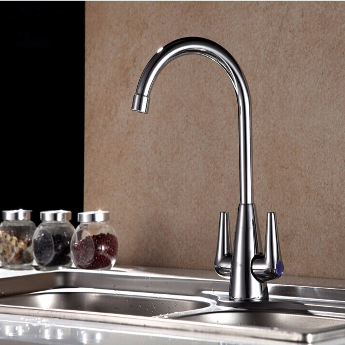 Modern Chrome Dual Twin Lever Kitchen Sink Faucet Cold and Hot Water Mixer Basin Tap