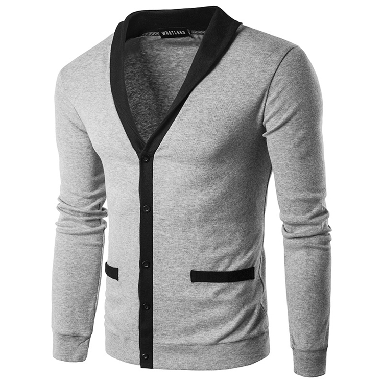 Classic Brief Fashion Neckline Sweatershirt Men's Single-breasted Hit Color Knitting Cardigan