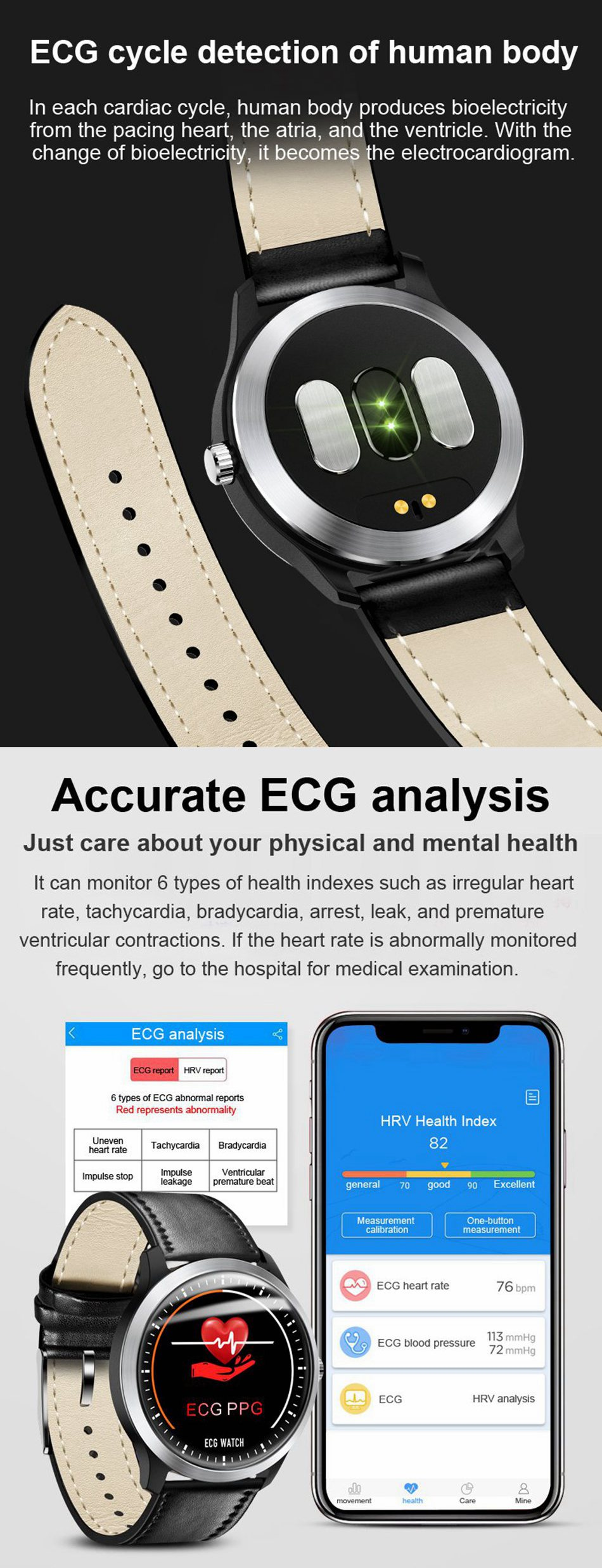 Bakeey N58 ECG EKG Display HR Sleep Monitor 3D UI Multi-sport Fitness Tracker Leather Strap Smart Watch