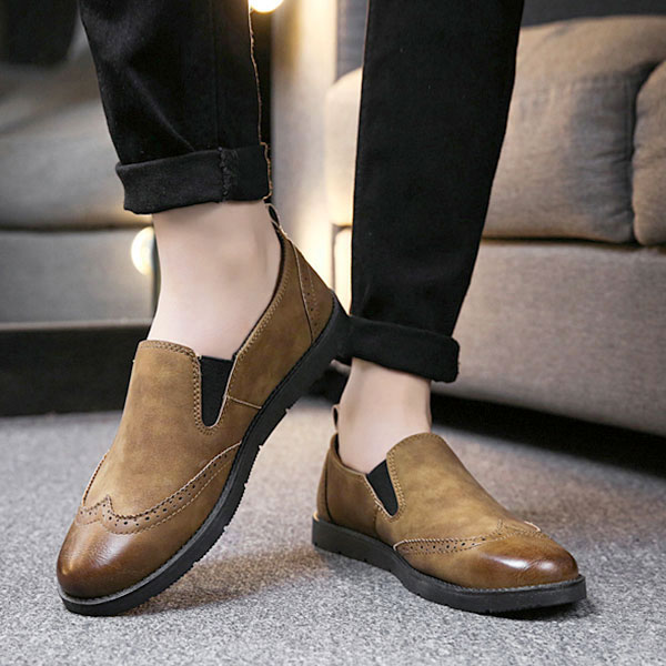 Men Genuine Leather Casual Brogue Style Slip On Oxfords