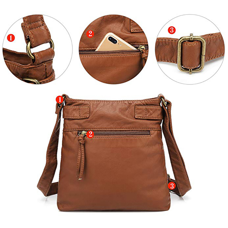Women Multi-pocket Casual PU Leather Crossbody Bag