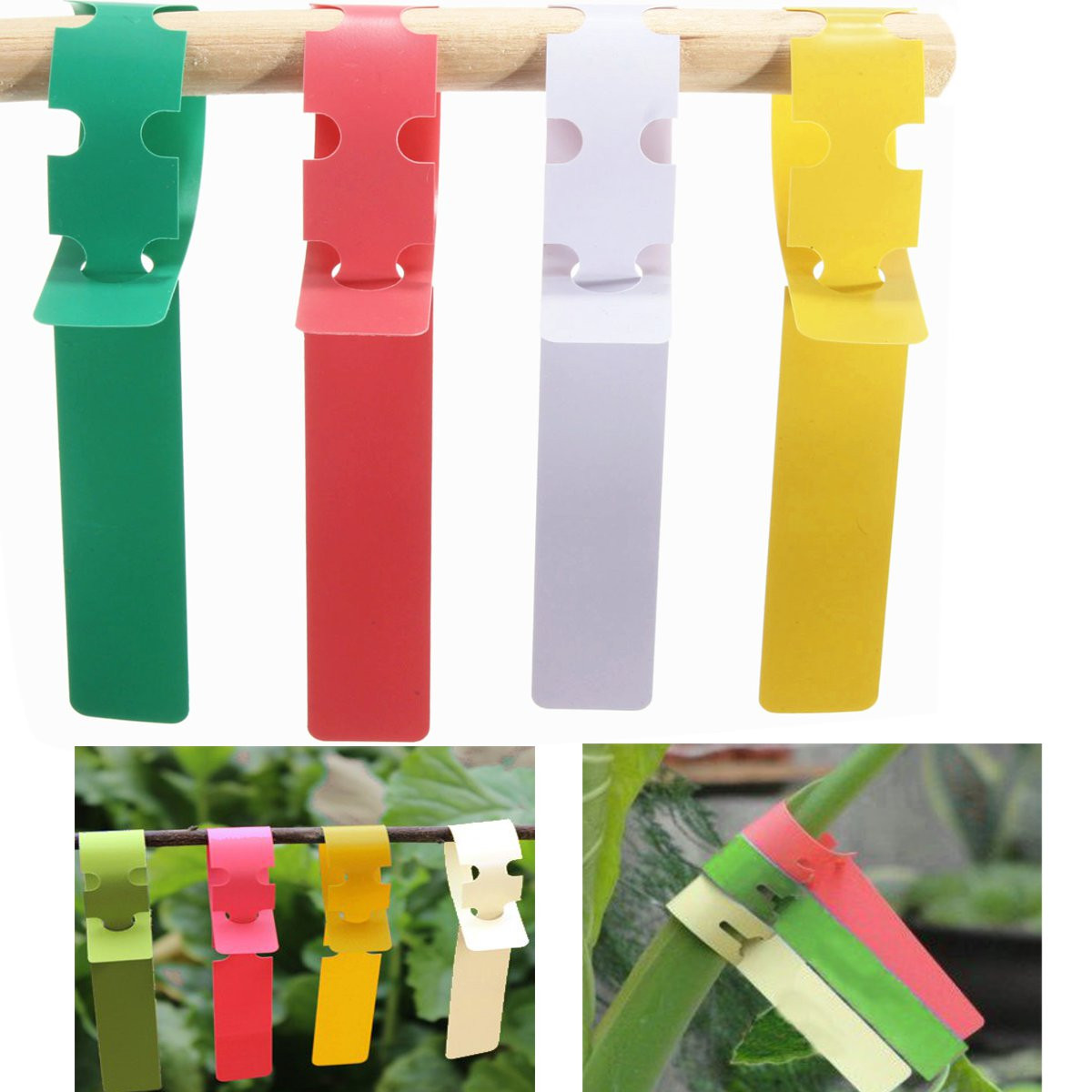 100pcs 2x20cm Waterproof Plastic Plant Hanging Tags Gardening Plant Flower Marker Label