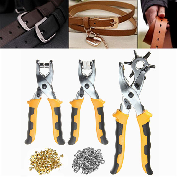 3Pcs Leather Belt Hole Punch Plier Eyelet Pliers Tool Kit With 200pcs Parts