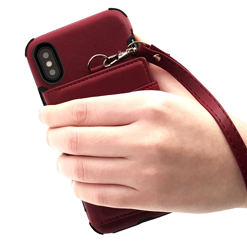 Bakeey Wallet Protective Case With Strap For iPhone X PU Leather Card Slots Pocket