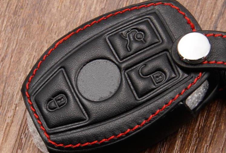 Leather Car Key Case/Bag Cover Holder For Mercedes Remote Smart Key 3 4 Button