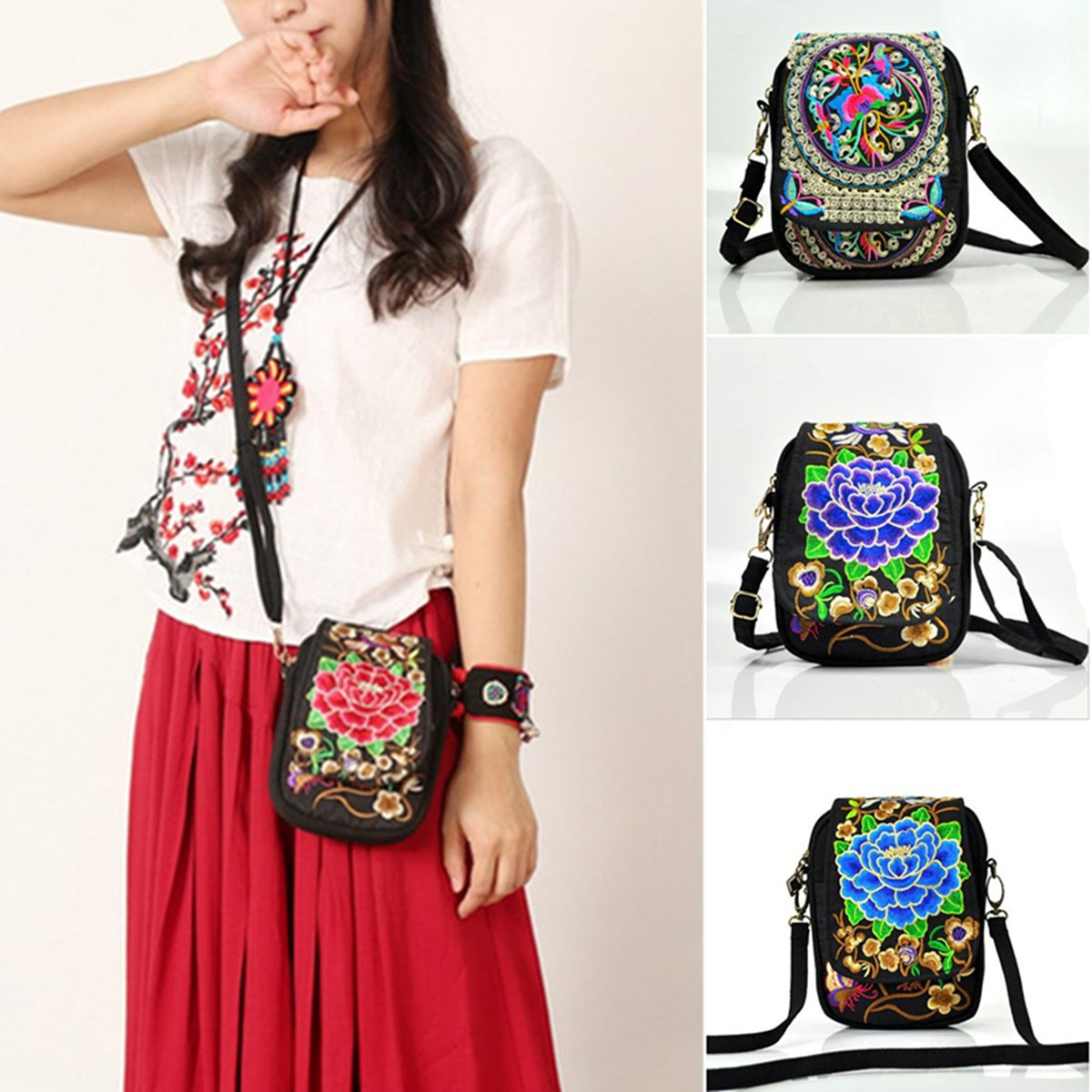 Women Mini Embroidered Flower Wallet Case Cash Crossbody Zipper Phone Bag for Phone under 6.5 inches