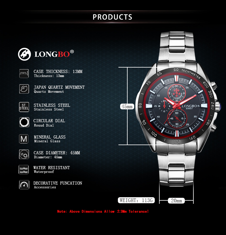 LONGBO 80007 Full Steel Business Style Men Quartz Watches