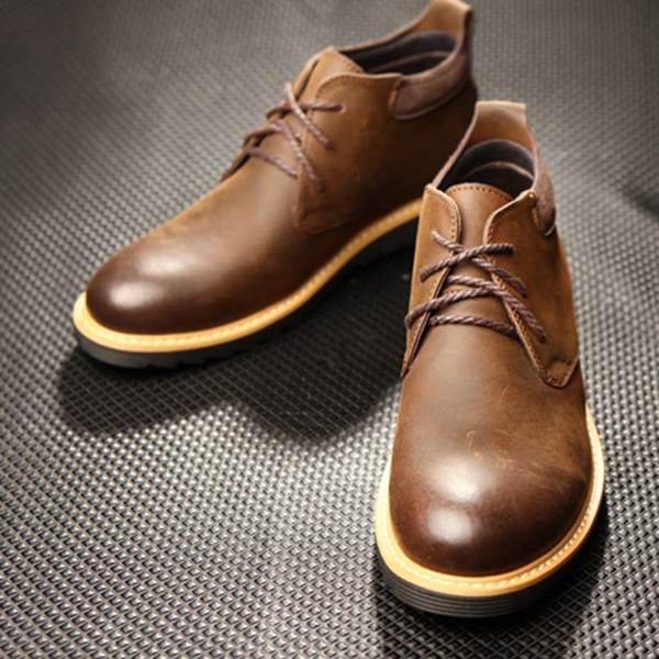Men Soft Comfy Genuine Leather Casual Business High Top Oxfords Shoes