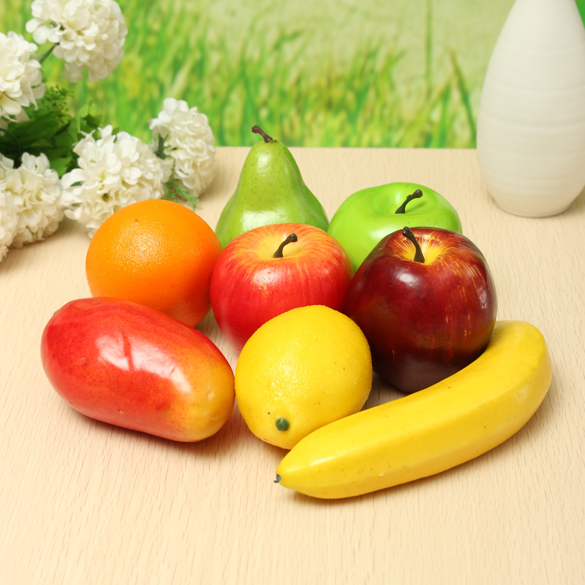 8PCS Lifelike Artificial Plastic Fruit Kitchen Fake Display Home Food Decor