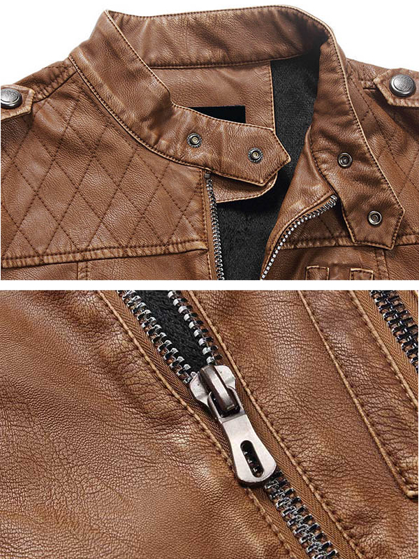 Mens Winter Thick PU Leather Jacket Stand Collar Zipper Motorcycle Coat