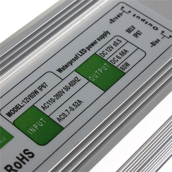 80W Waterproof IP67 LED Driver Transformer Power Supply AC110V-260V to DC12V