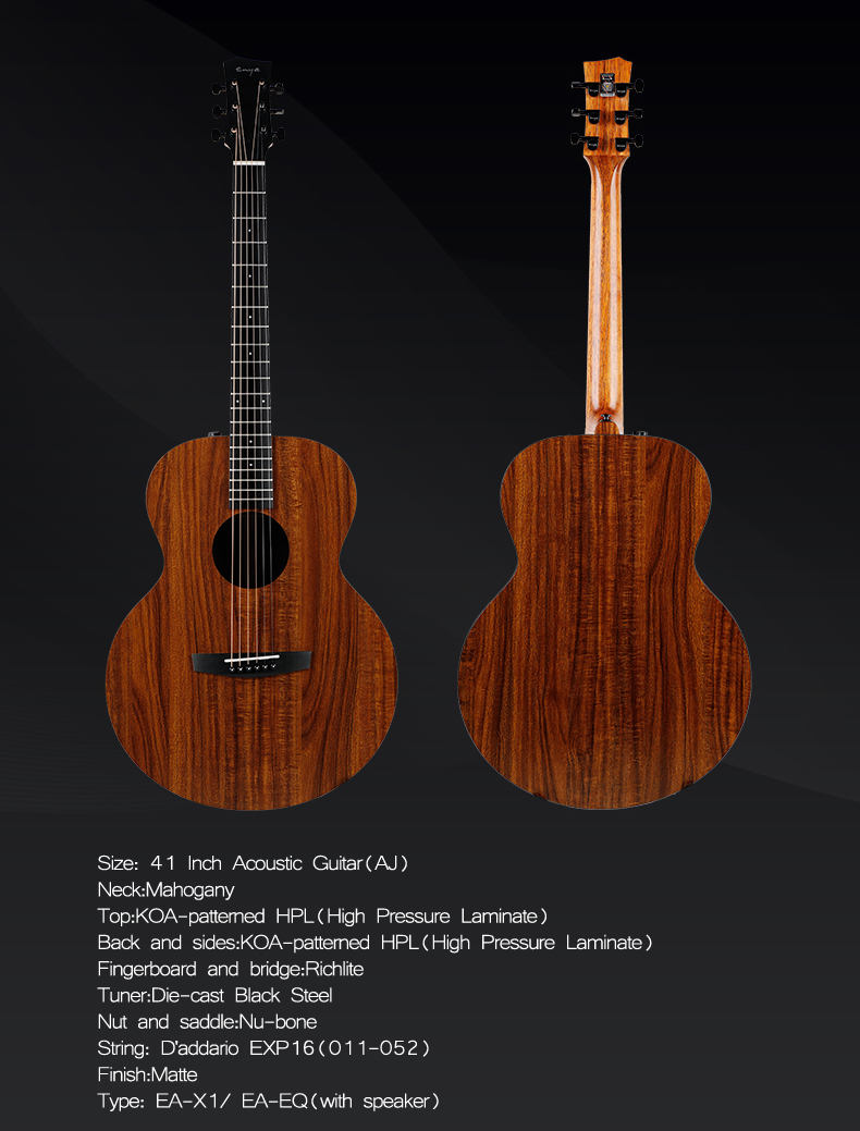 Enya EA-X1/EQ 41 Inch KOA-Patterned HPL Wood Full Board Acoustic Guitar