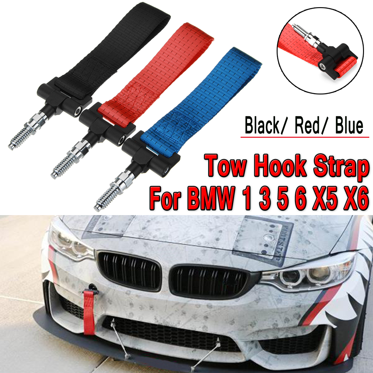 Nylon Track Racing Style Tow Hook Strap Car Hook for BMW 1 3 5 6 X5 X6 Red Blue Black