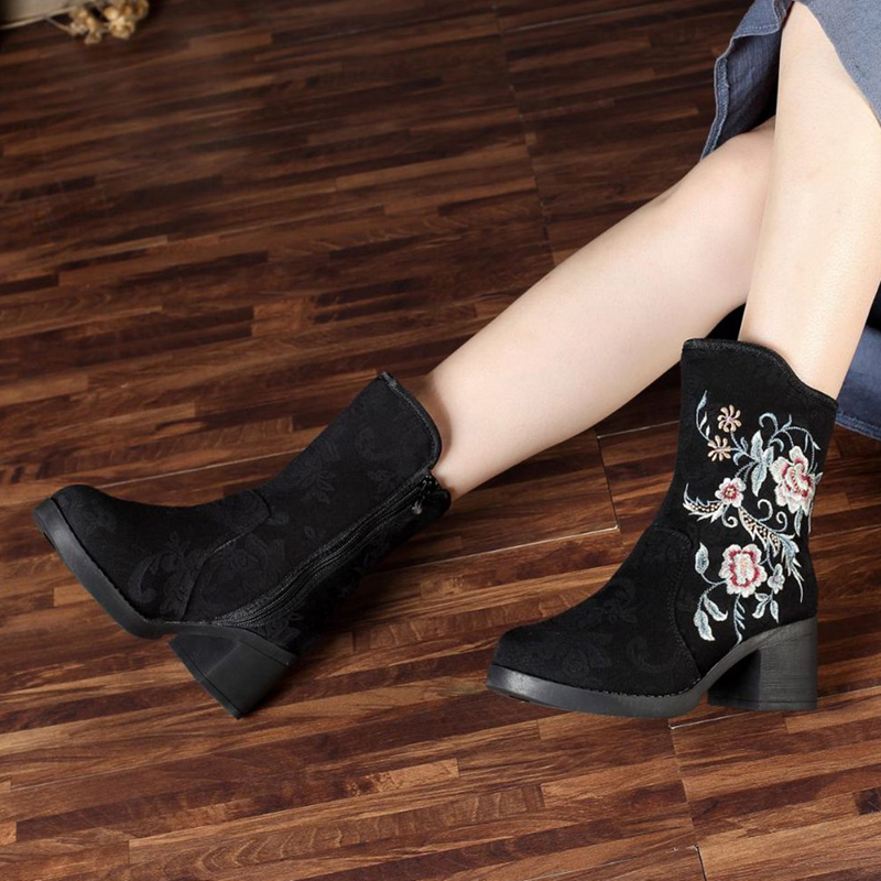 Old Peking Embroidery Pattern Zipper Keep Warm Ankle Boots