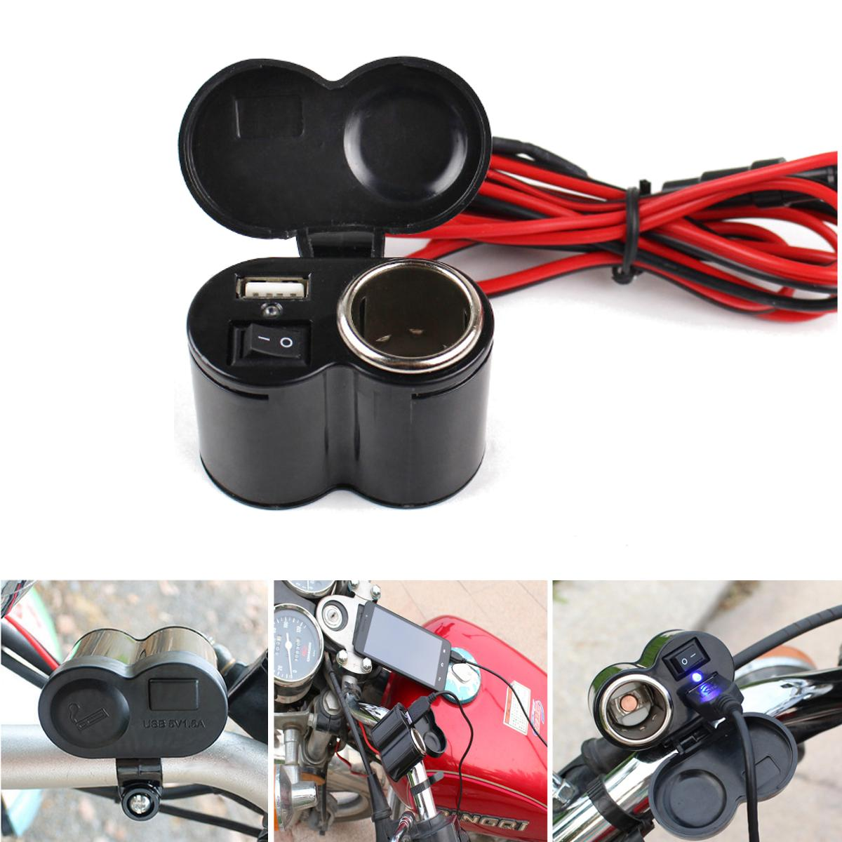 12V-24V Motorcycle E-bike USB Charger Cigarette Lighter
