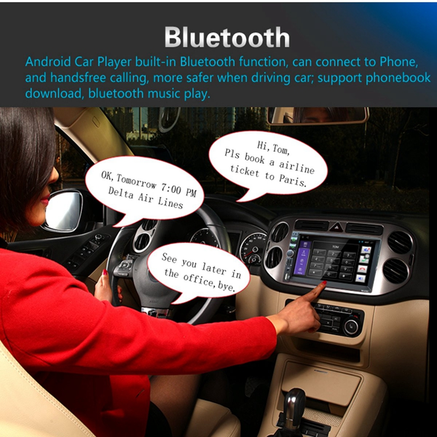 7 inch Car GPS Navigation Audio Player FM USB SD AUX bluetooth Touch Screen Panel In Dash Android Universal