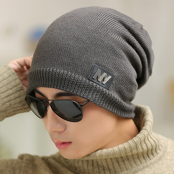 Mens Winter Thicken Warm Plush Knitted Beanies Hats