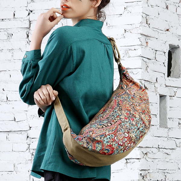 Brenice Women Large Capacity Ethnic Embroidery Shoulder Bag