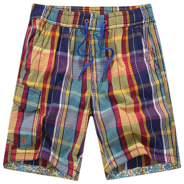 Summer Men's Seaside Vacation Beach Shorts Pants Casual Quick Dry Cotton Plaid Shorts