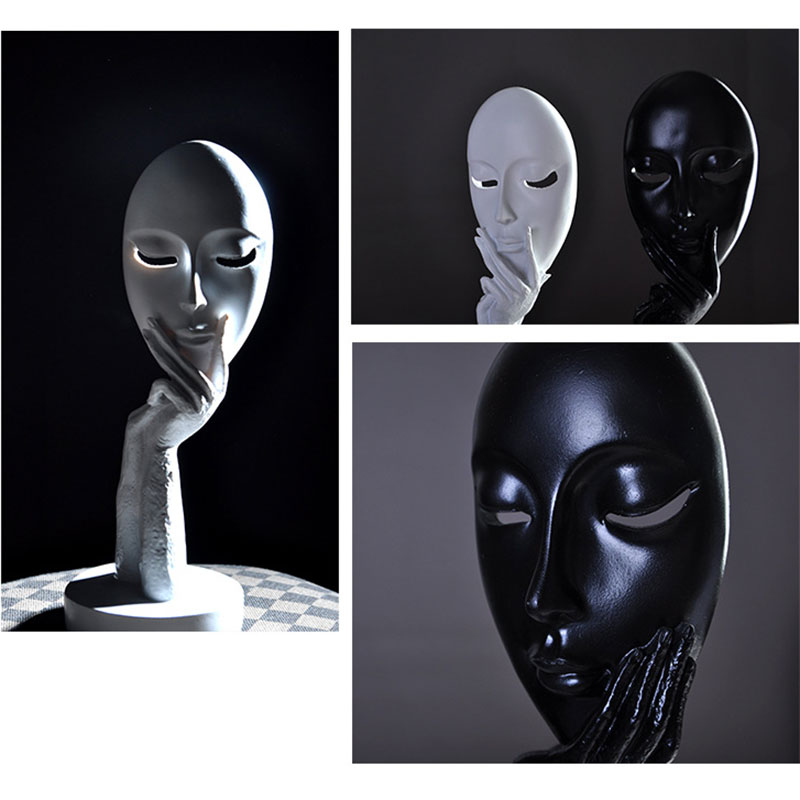 Nordic Style Simple Creative Household Accessories Resin Portrait Mask Crafts Tabletop Decoration Model Home Decor
