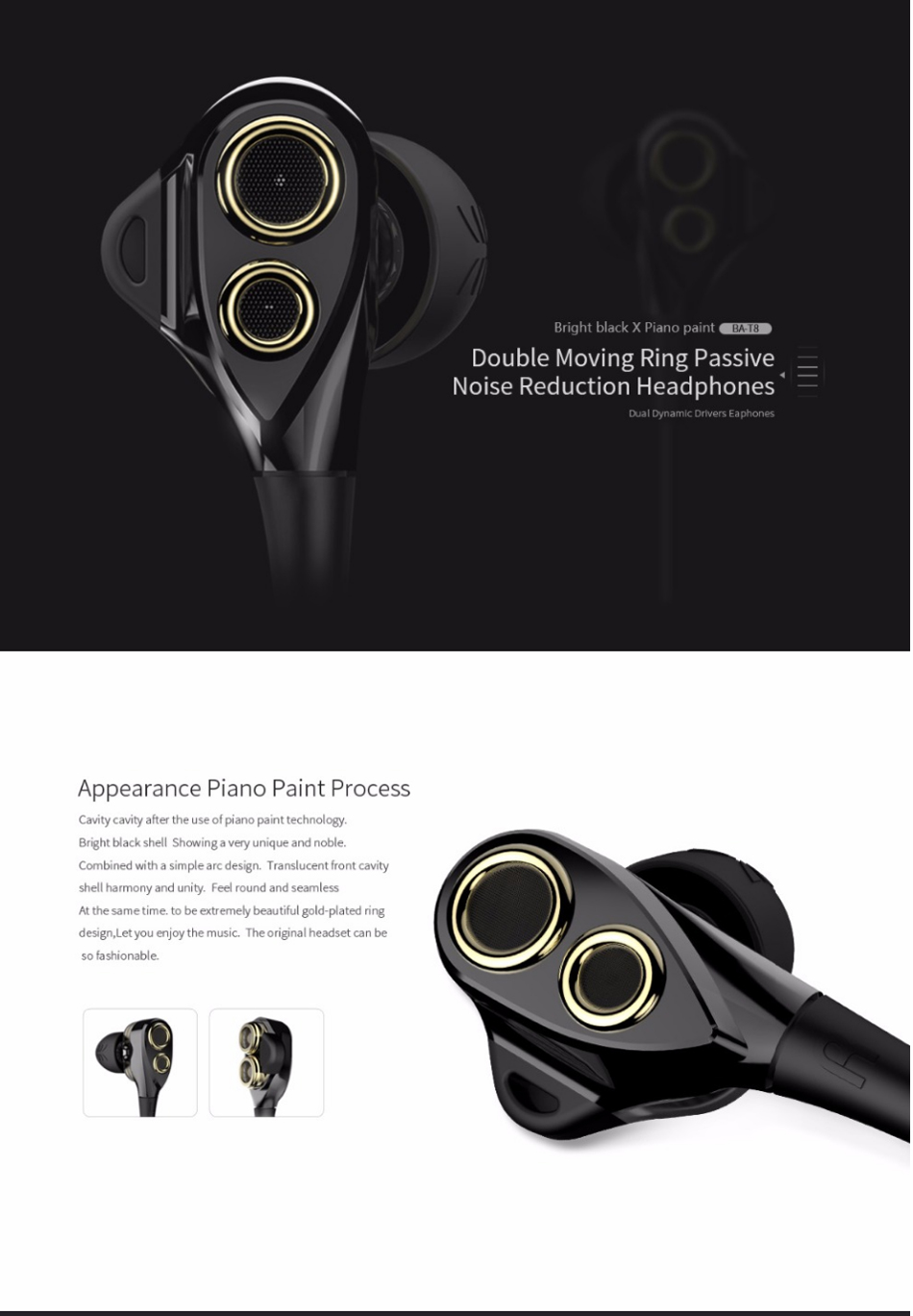 UiiSii BA-T8 HiFi Stereo Wired Earphone Volume Up Noise Isolating In-Ear Headphone with Mic