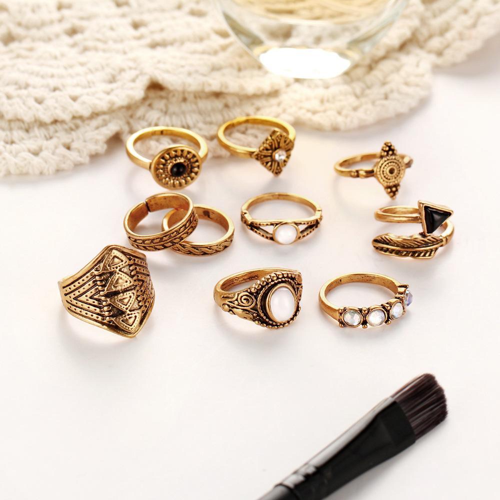 10 Pcs Women Casual Ring Set Rhinestones Gem Knuckle Rings