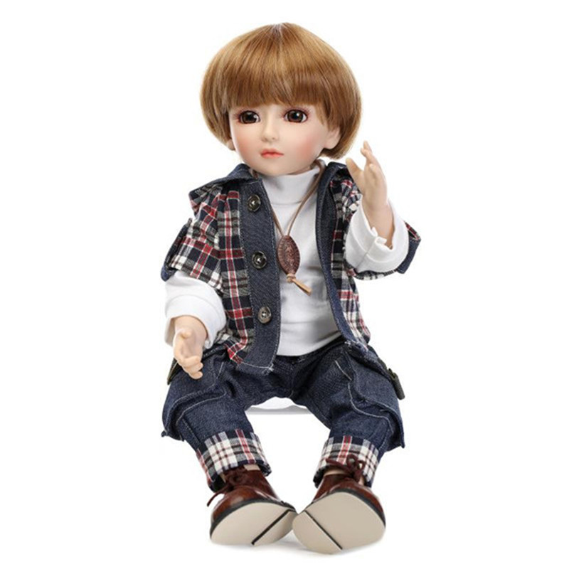 NPK 45cm BJD 1/4 Cute Ball Joint Doll Baby Dressed Boy Handmade Lifelike Baby Play House Toy Collection