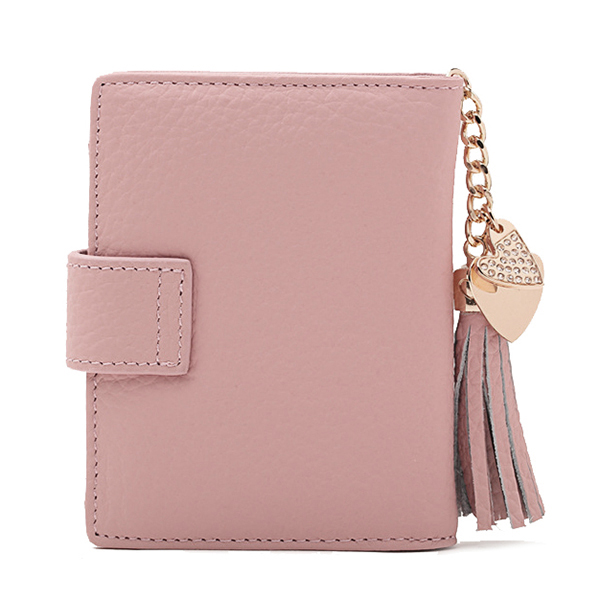 Women Genuine Leather Tassel Pendant Wallet High End Leather Purse Coin Bag