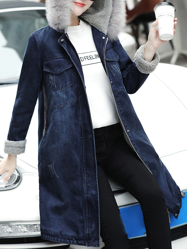 Casual Women Fleece Lined Denim Coat