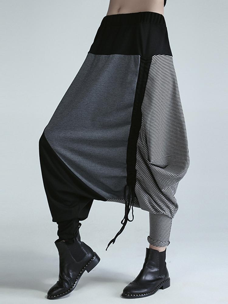 Drawstring Elastic Waist Harem Pants