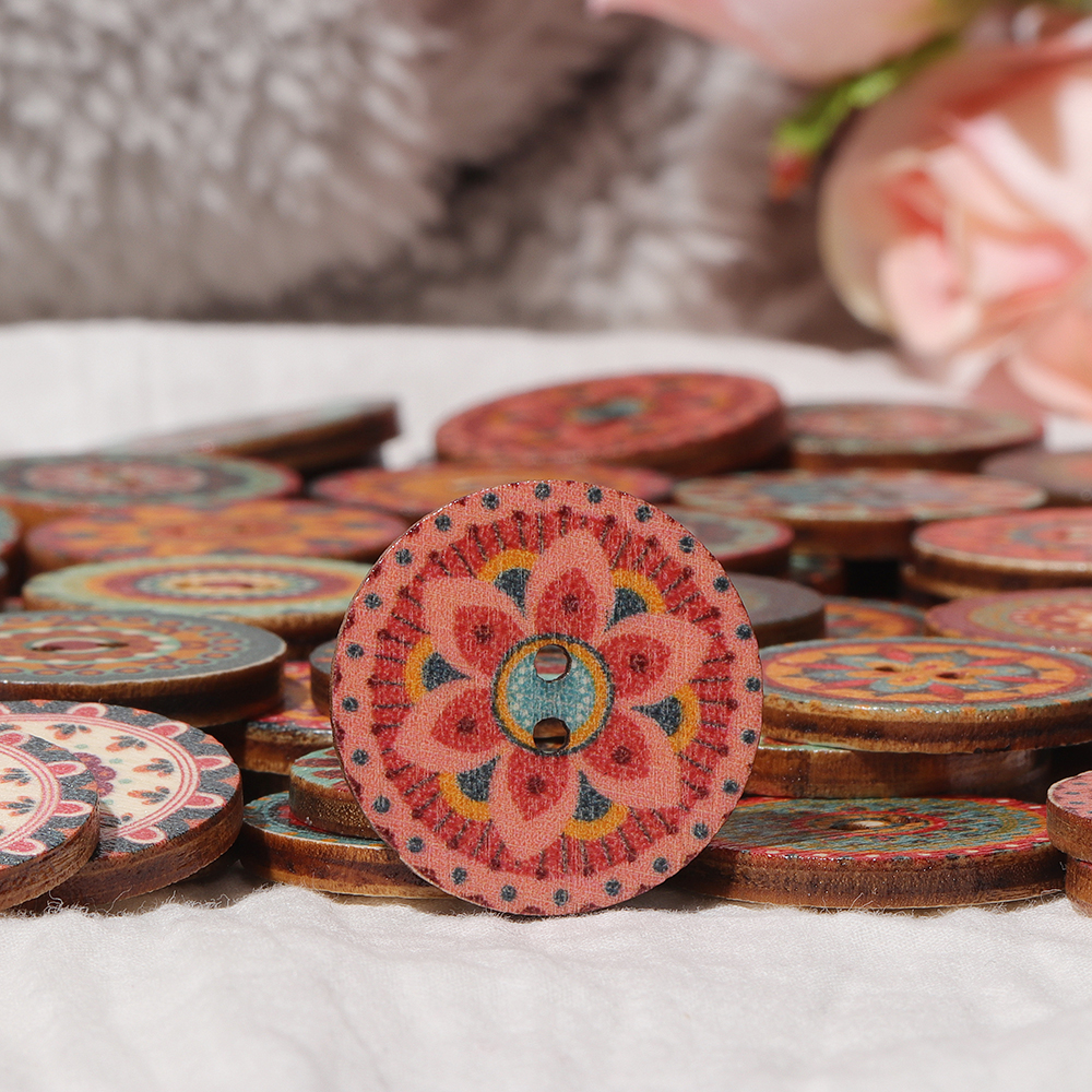 Mixed Vintage Colorful Round Flower Wooden Buttons Scrapbooking Crafts Handmade Home Decoration Sewing Supplies