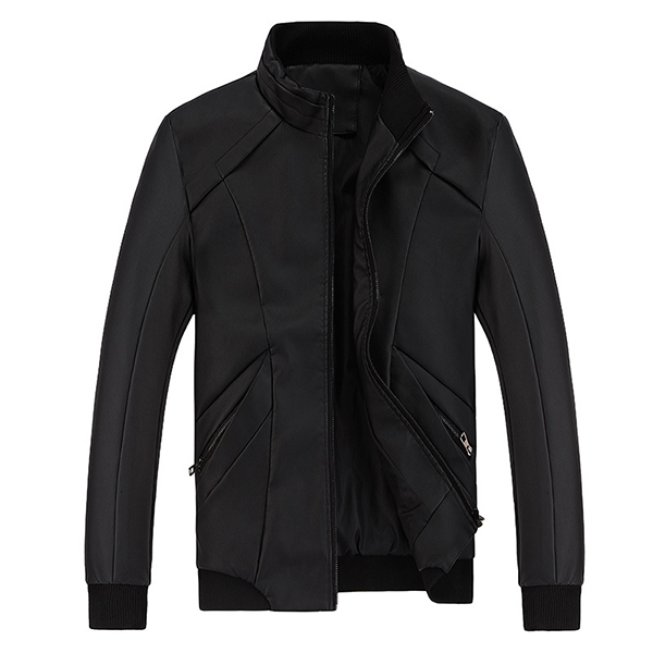 Mens PU Leather Stand Collar Jacket Business Outdoor Solid Color Casual Coat